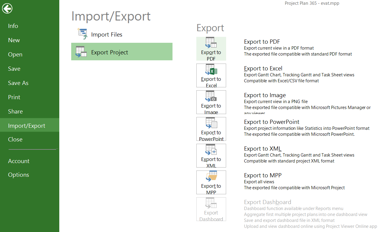 Export To Pdf Project Plan 365