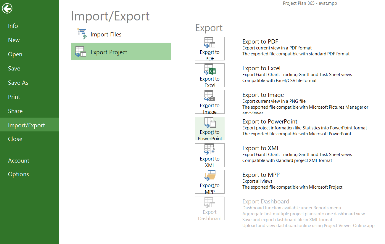 export to powerpoint project plan 365