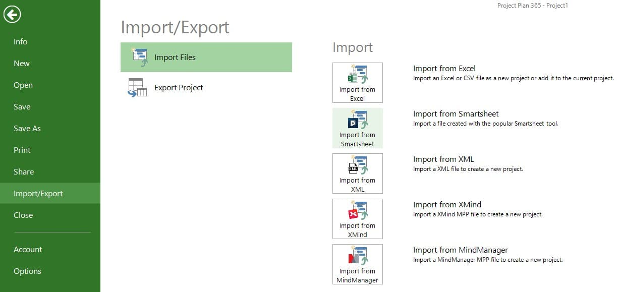 Import from Smartsheet – Project Plan 365