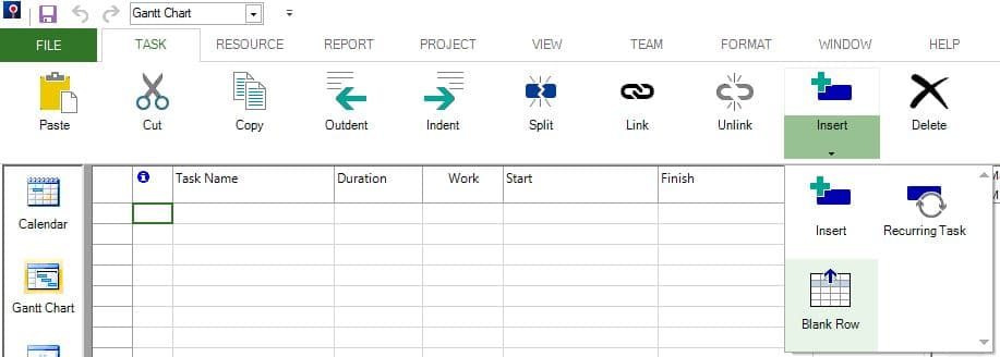 Null Tasks or Blank Rows – Project Plan 365